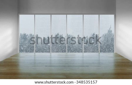 Residential window with snowy view - stock photo