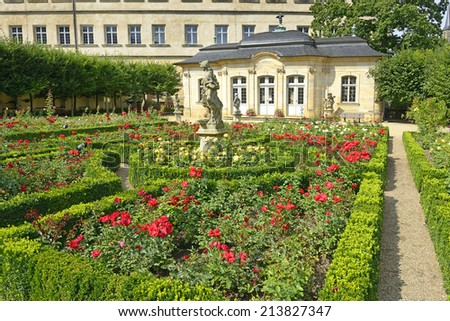 Residenz palace garden, The famous rose garden, Bamberg, Germany - stock photo