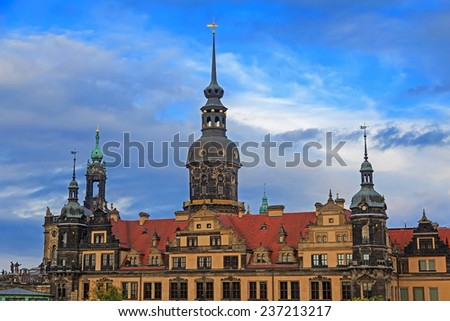 Residenzschloss (city palace) in Dresden with cloudy sky, Germany  - stock photo