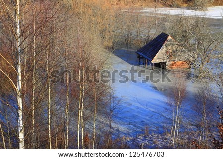 Residuals from copper mine covering a valley and entire village - stock photo
