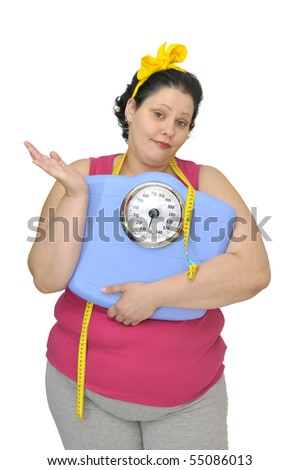 Resigned large girl with scale isolated in white - stock photo