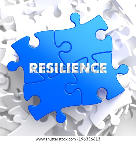 Resilience on Blue Puzzle on White Background. - stock photo
