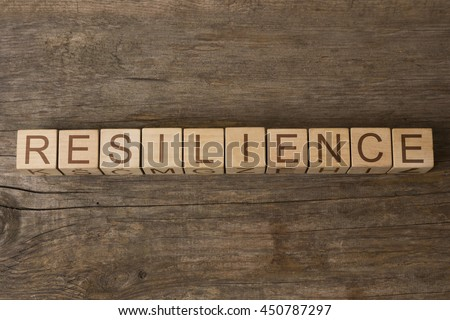 RESILIENCE word on wooden cubes - stock photo