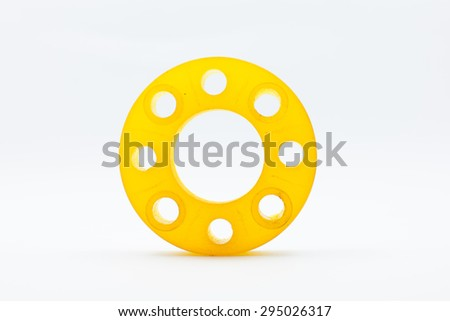 resin  mold of flanges isolate on white background. - stock photo