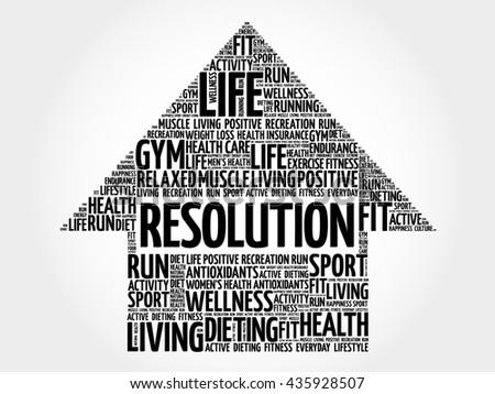 RESOLUTION arrow word cloud, health concept - stock photo