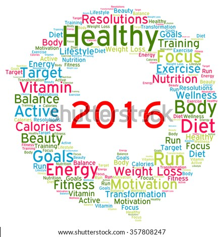 Resolutions 2016 health word cloud  - stock photo