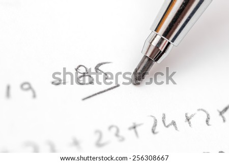 Resolving Algebra Equations Test On Paper With Pencil - stock photo