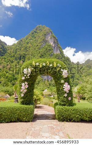 resort garden in thailand - stock photo