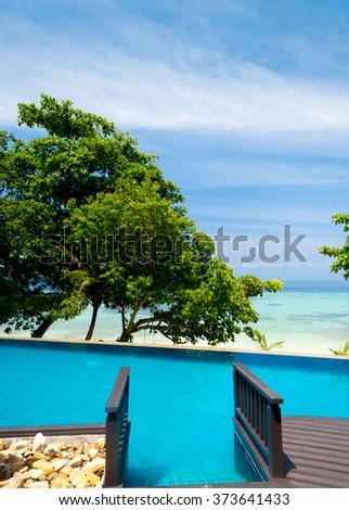 Resort Relaxation Paradise Pool  - stock photo
