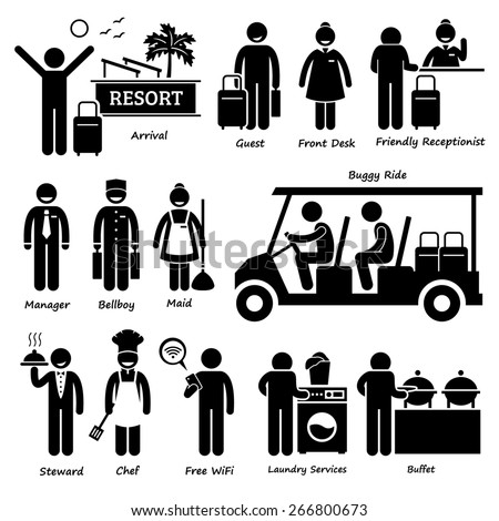 Resort Villa Hotel Tourist Worker and Services Stick Figure Pictogram Icons - stock photo