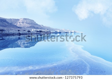 resorts of the Dead Sea in Israel in the summer vacation - stock photo