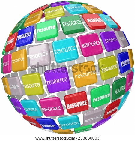 Resource word on tiles in a globe or sphere to illustrate access to skills, knowledge and information in a library or database collection needed for a job or task - stock photo
