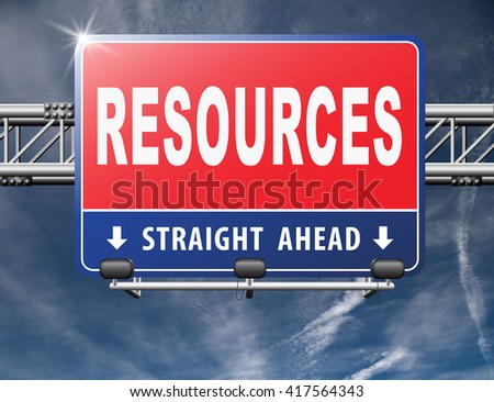Resources human or natural resource road sign billboard - stock photo
