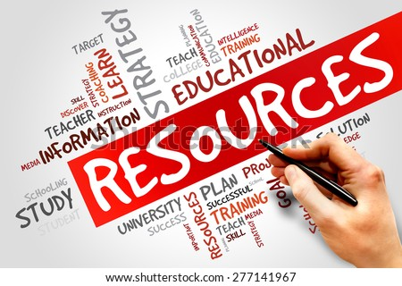 RESOURCES word cloud, education concept - stock photo