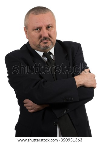 Respectable senior business man standing on white background - stock photo