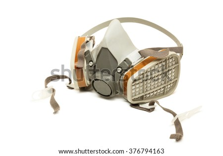 Respiratory Equipment for work, isolated on white background - stock photo