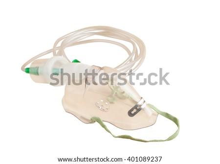 respiratory support mask. ambu bag for ventilation resuscitation on white background - stock photo