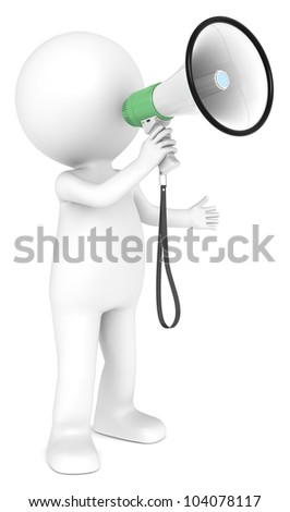 Responsibility. 3d little human character with a Green Megaphone.  People series. - stock photo