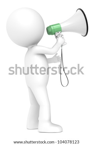 Responsibility. 3d little human character with a Megaphone. Green and white. Side view.  People series. - stock photo