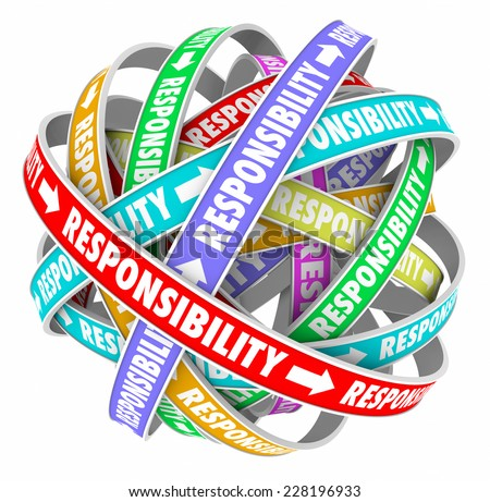 Responsibility word on ribbons in a ball or sphere to illustrate passing or delegating duties, jobs, tasks and assignments to others on your team - stock photo