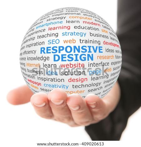 Responsive design concept. Hand take white sphere with big blue inscription Responsive design - stock photo