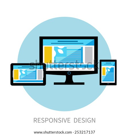 Responsive design concept. Set of realistic display laptop tablet computer smartphone and mobile phone template in flat design style. Different modern personal gadgets. Raster version - stock photo
