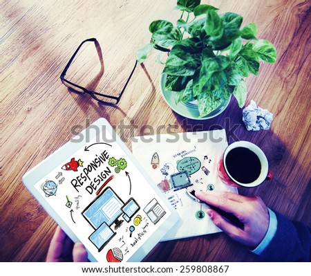Responsive Design Internet Web Online Device Technology Concept - stock photo