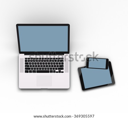 Responsive mockup of a laptop, digital tablet and smart phone. Clipping paths for all displays included. - stock photo