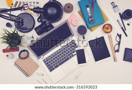 responsive sloppy office desk mockup - stock photo