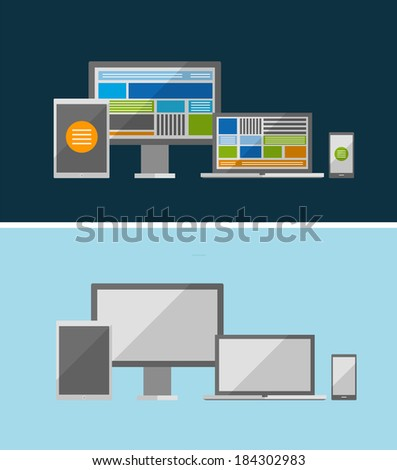 Responsive ui flat design concept. Can be used for business / technology presentations, printed support - stock photo