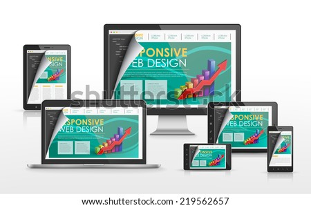 responsive web design concept in flat screen TV, tablet, smart phone and laptop - stock photo