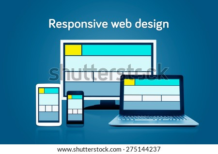 Responsive web design layout on different devices. Set on dark background - stock photo