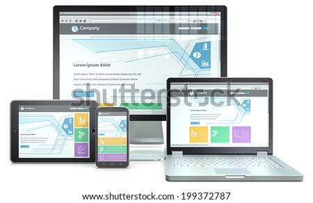 Responsive Web Design. RWD concept with smartphone,laptop,screen and tablet computer. No branded. - stock photo