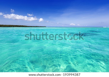 Rest on the tropical island. Fine place for restoration of forces, aquatics and bathing. - stock photo