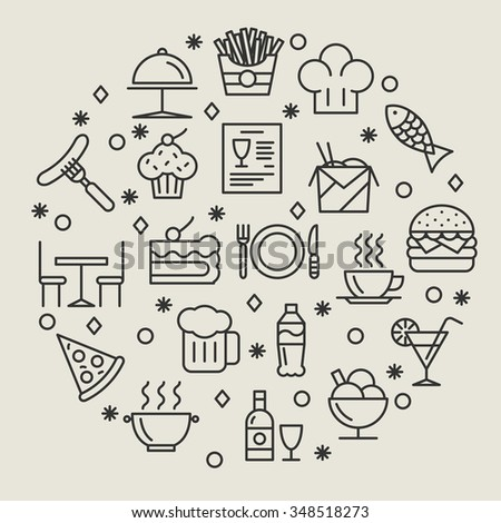 Restaurant and foods outline icons - stock photo