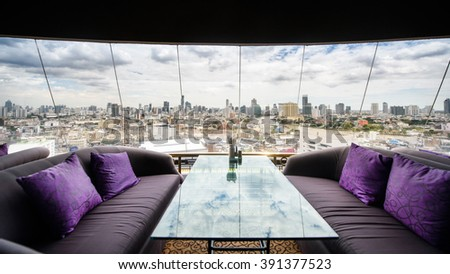 restaurant and view in city - stock photo