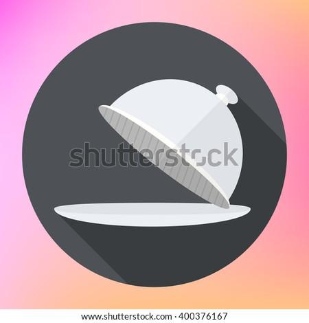 Restaurant cloche Icon, Restaurant cloche icon flat, Cloche icon eps, Cloche icon jpg, Cloche icon picture, Cloche icon flat, Restaurant cloche flat icon with long shadow,eps10  flat icon long shadow. - stock photo