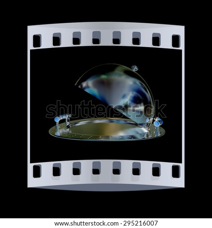 Restaurant cloche isolated on black background. The film strip - stock photo