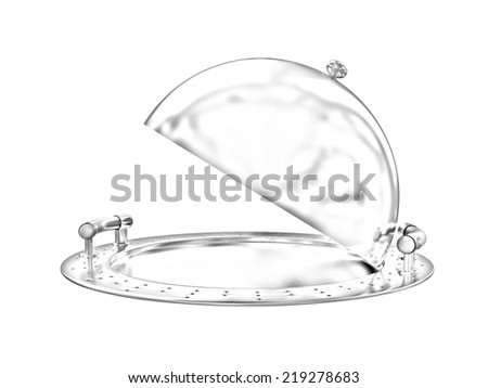 Restaurant cloche isolated on white background. Pencil drawing  - stock photo