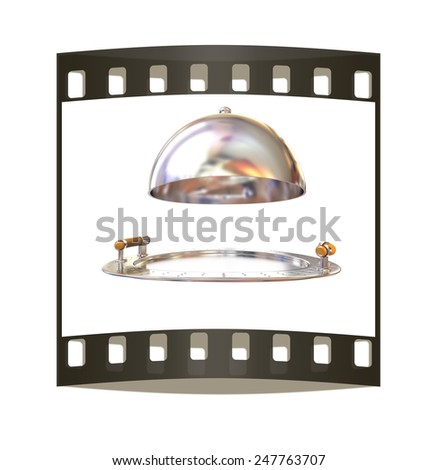 Restaurant cloche isolated on white background. The film strip - stock photo
