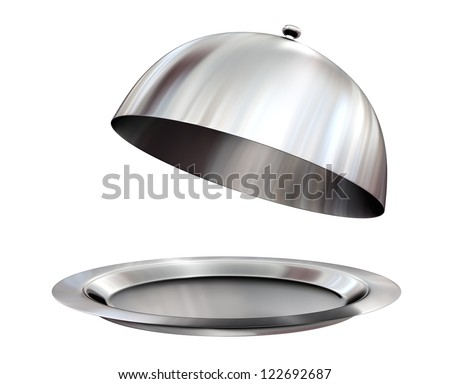 Restaurant cloche with open lid - isolated on white - stock photo
