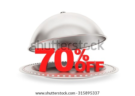 Restaurant cloche with 70 percent off Sign on a white background - stock photo