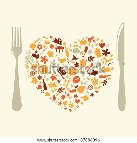 Restaurant Design In Form Of Heart - stock photo