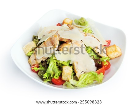 Restaurant food - chicken caesar salad isolated at the white background - stock photo