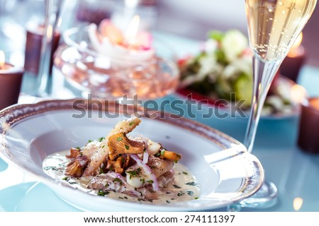 Restaurant, Food, Dinner. - stock photo