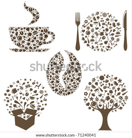 Restaurant Icons In Form Of  Tree, Coffee Grain, Cup, Box And Plate With Plug And  Spoon,  Isolated On White Background - stock photo