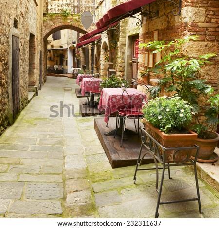 Restaurant in Tuscany, Italy - stock photo