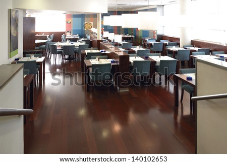 Restaurant interior detail contemporary nobody horizontal architecture and buildings. - stock photo