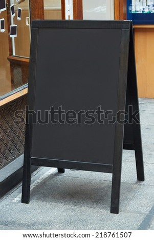 Restaurant menu blank board on the street - stock photo