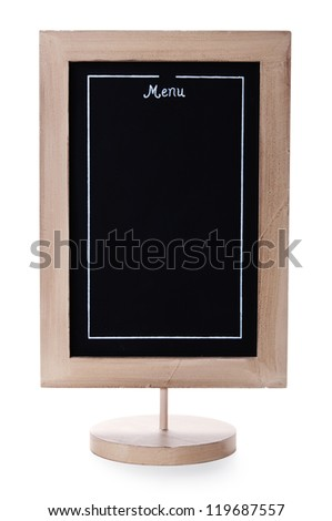 Restaurant menu board isolated over white background - stock photo